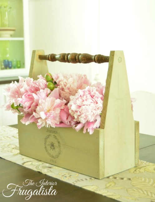 Semi-transparent Sage Advice Paint Color on DIY Wooden Garden Caddy